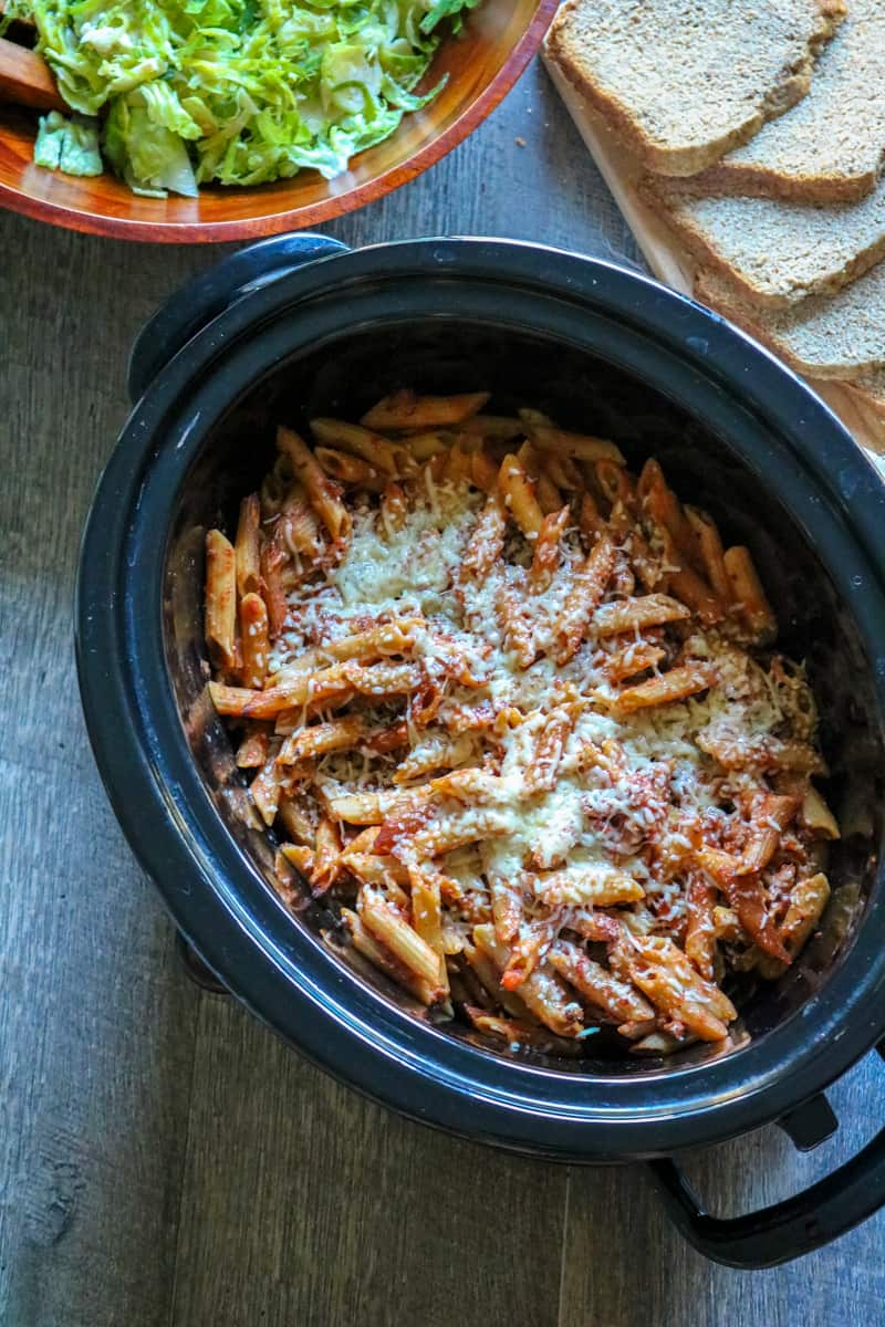 Slow cooker baked pasta