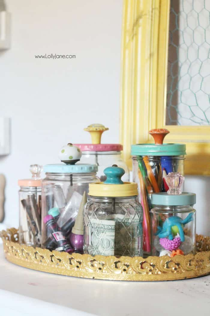 Candle jars as desk organization