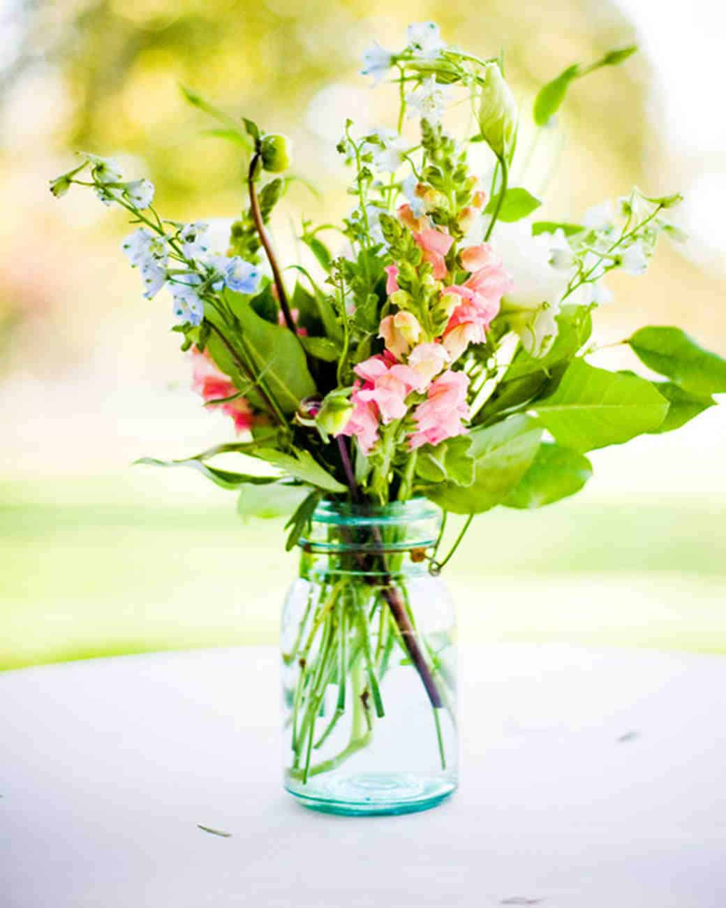 Display flowers in jars