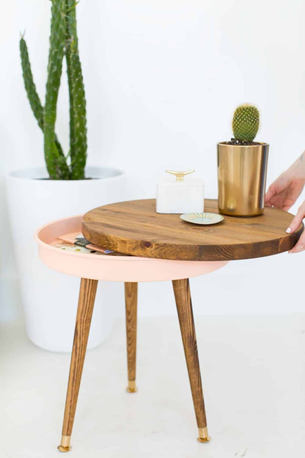 Diy midcentury modern table with storage