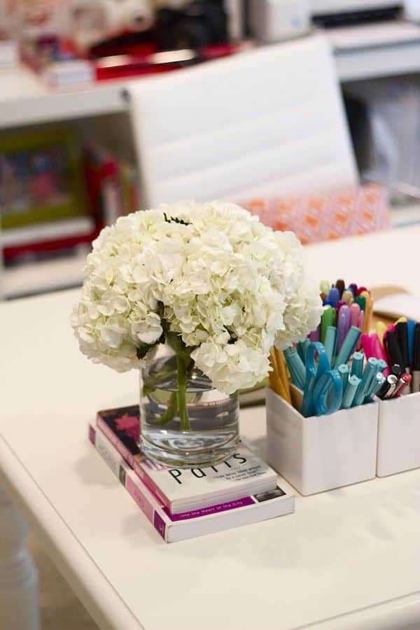Fresh flowers at home office desk