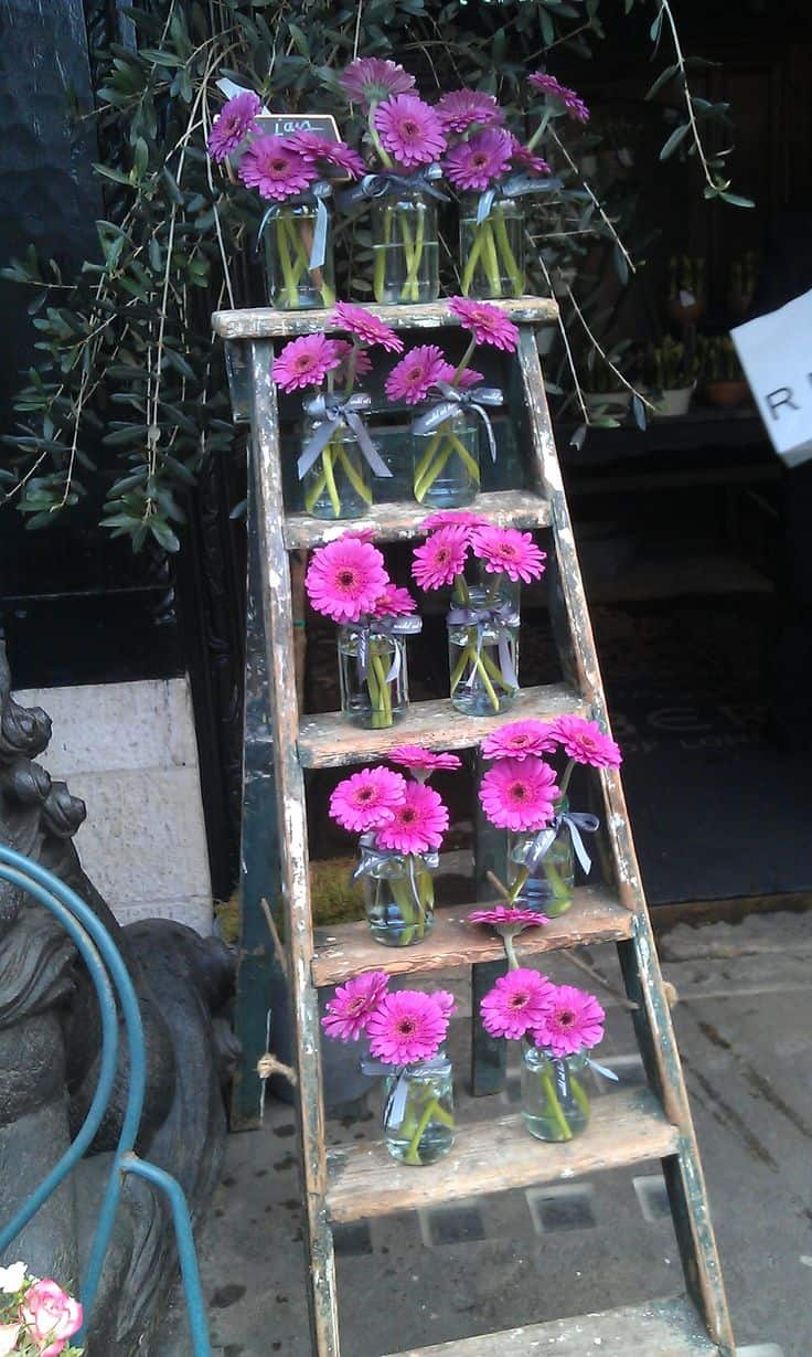 Fresh flowers on ladder display