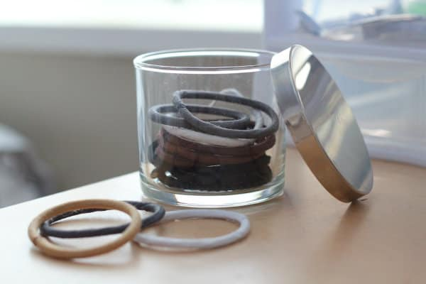 Hair band storage from candle jar