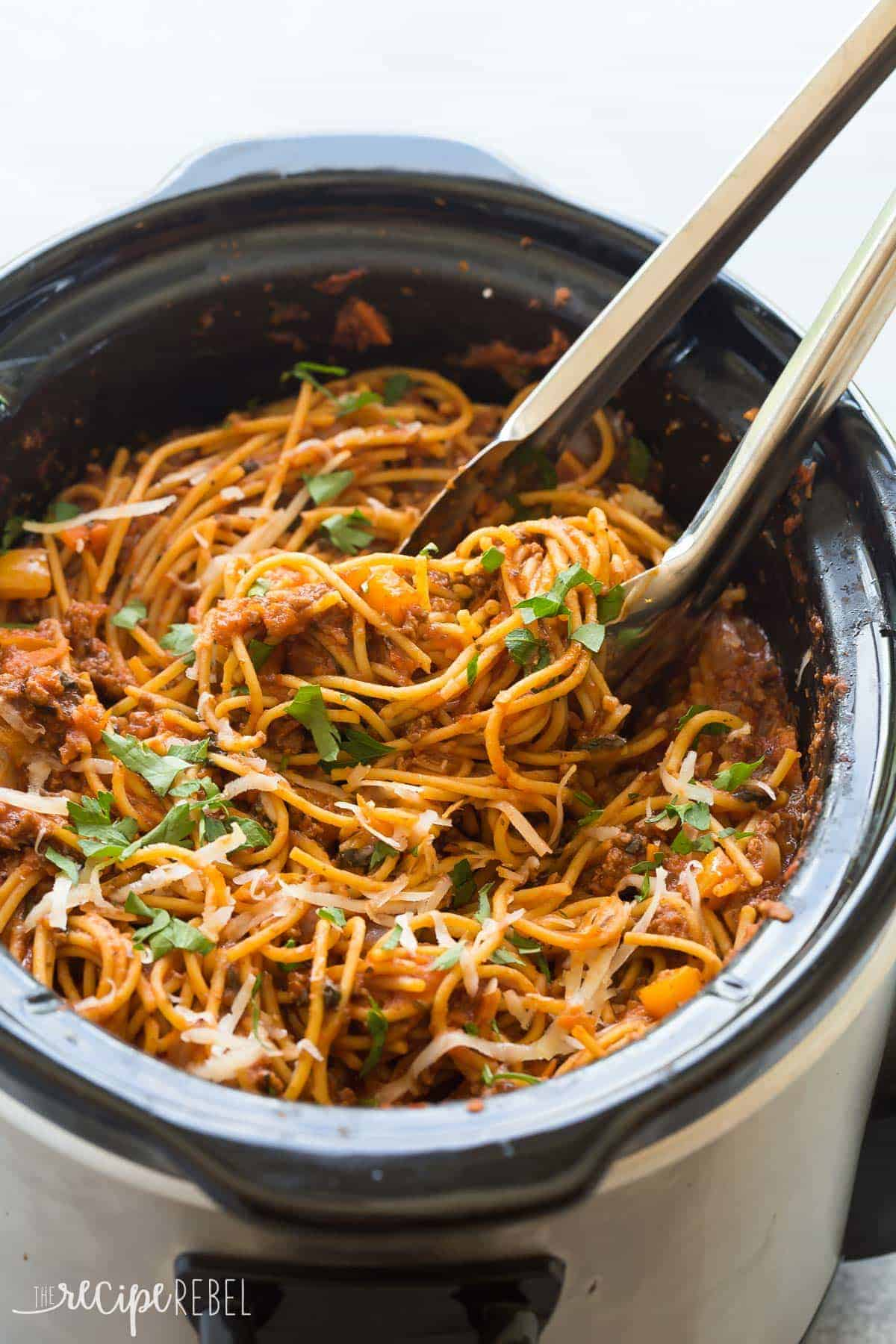 Healthier slow cooker spaghetti and meat sauce www thereciperebel com 5 of 11