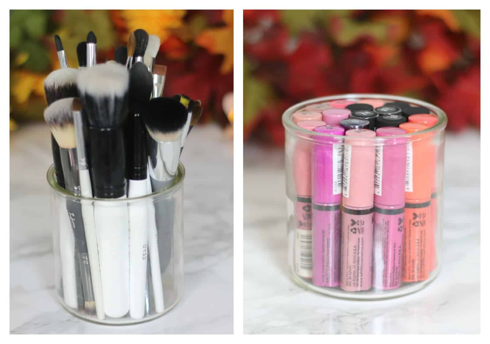 Makeup brush storage options from old candle jar