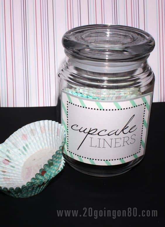 Old candle jar for cupcake liner storage