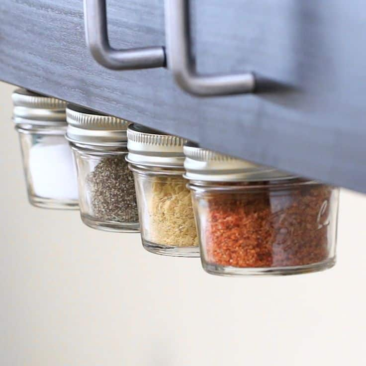 Spice rack with candle jars