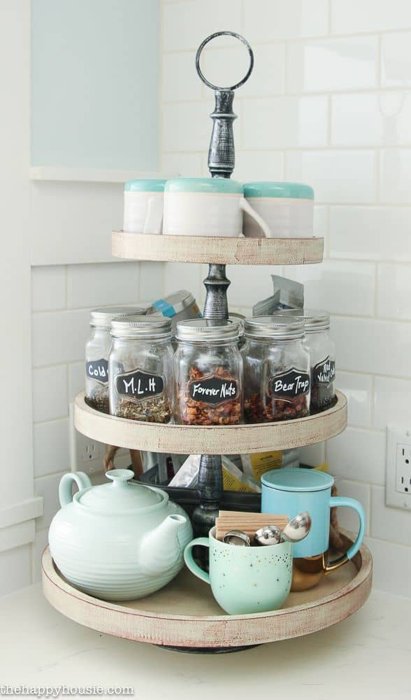 Tea station with old candle jars