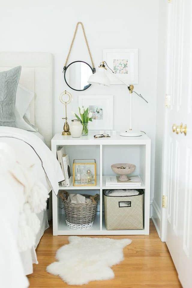 Utilize cubbies in small bedroom