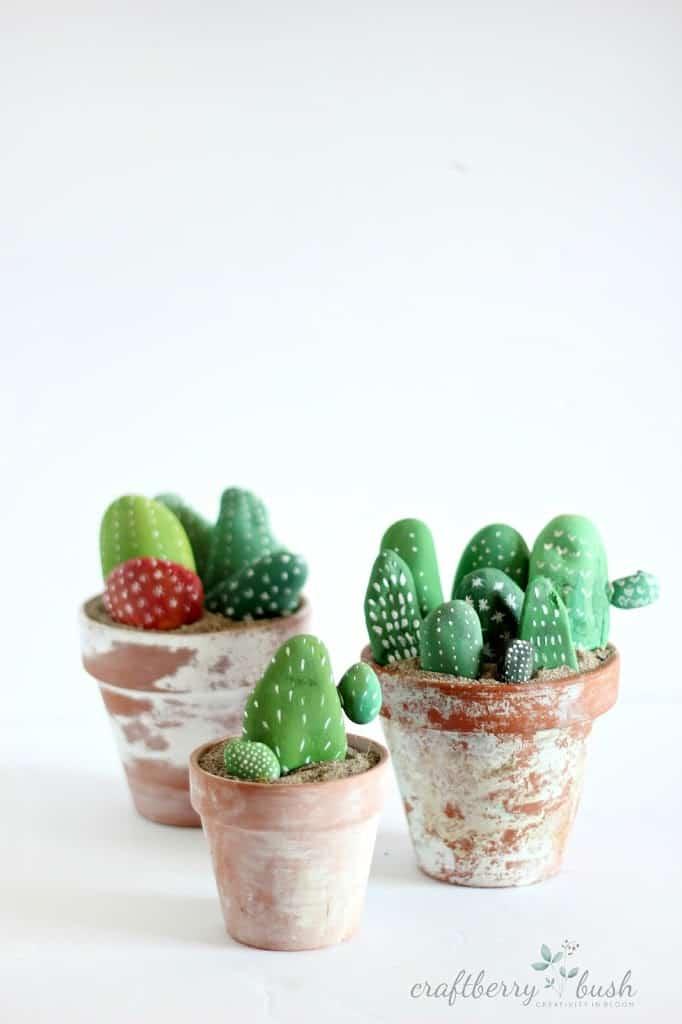 Cactus painted rocks