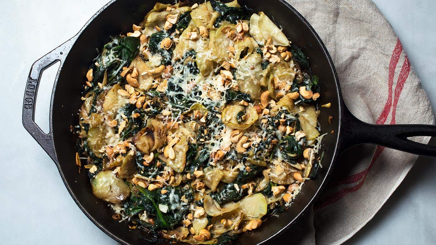 Creamed kohlrabi and spinach