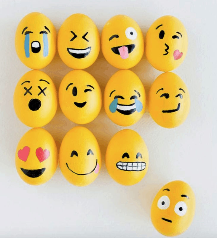 Emoji painted rocks