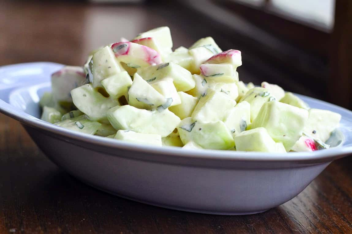 Kohlrabi and cucumber salad