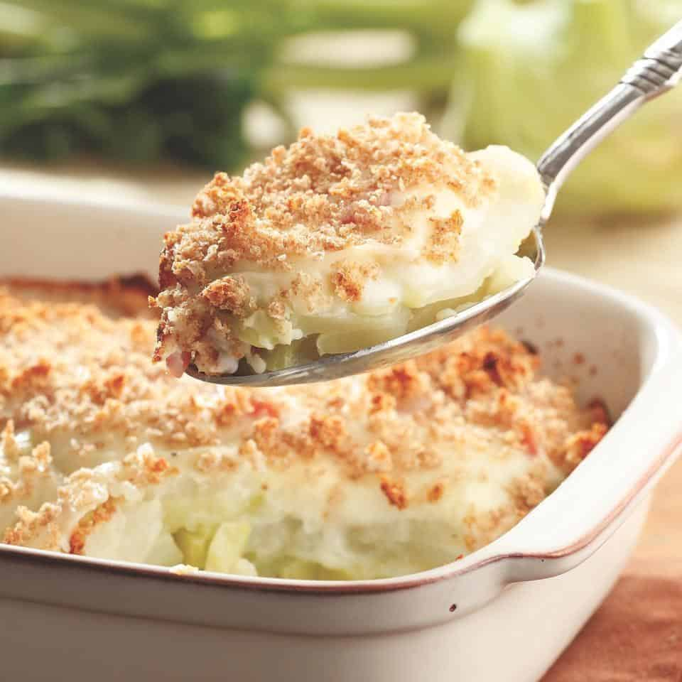 Kohlrabi and ham gratin