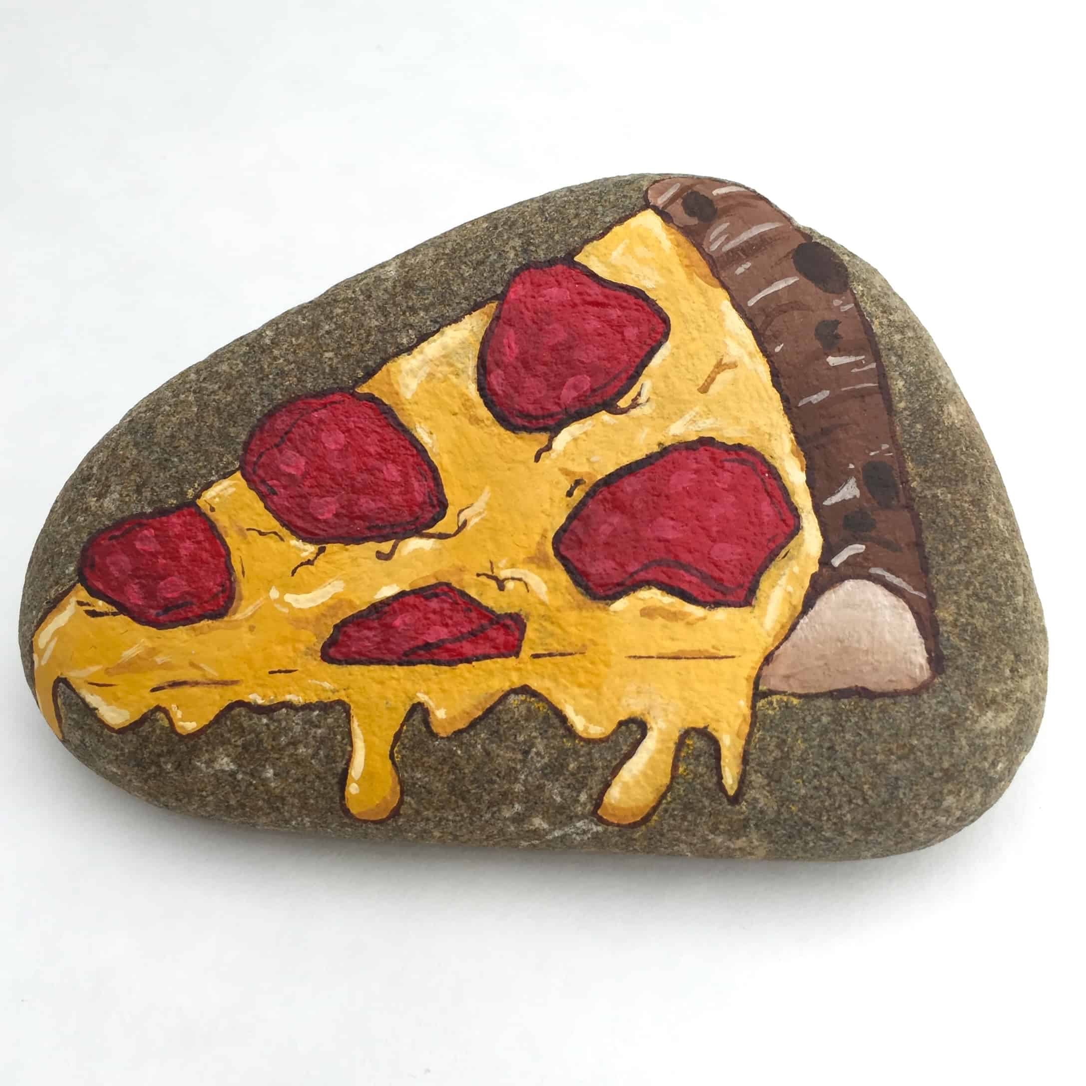 Pizza painted rocks