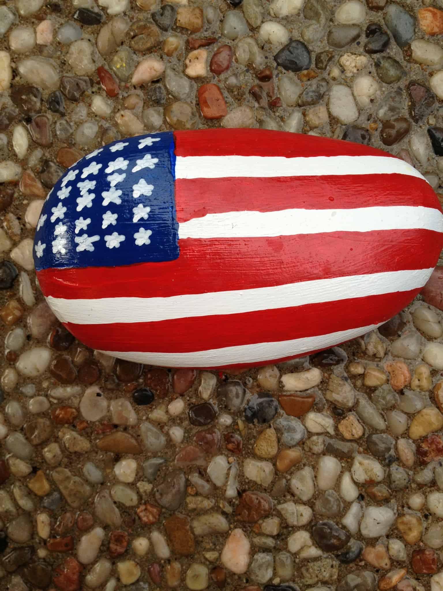 Usa flag painted rocks