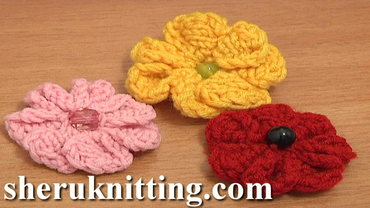 Beaded knit flowers