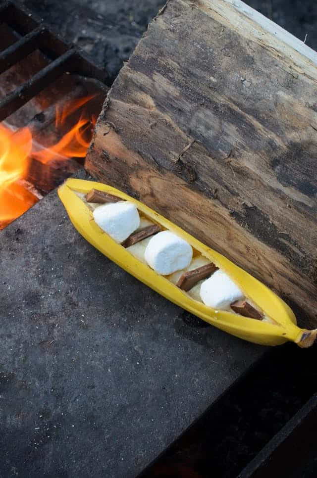 Campfire banana boat s'mores