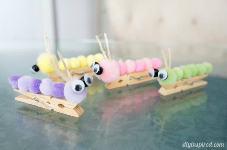 Clothespin caterpillars diy