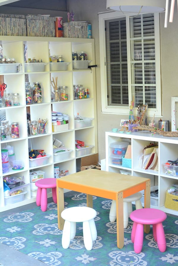 Cubbies and bins to organize crafting things