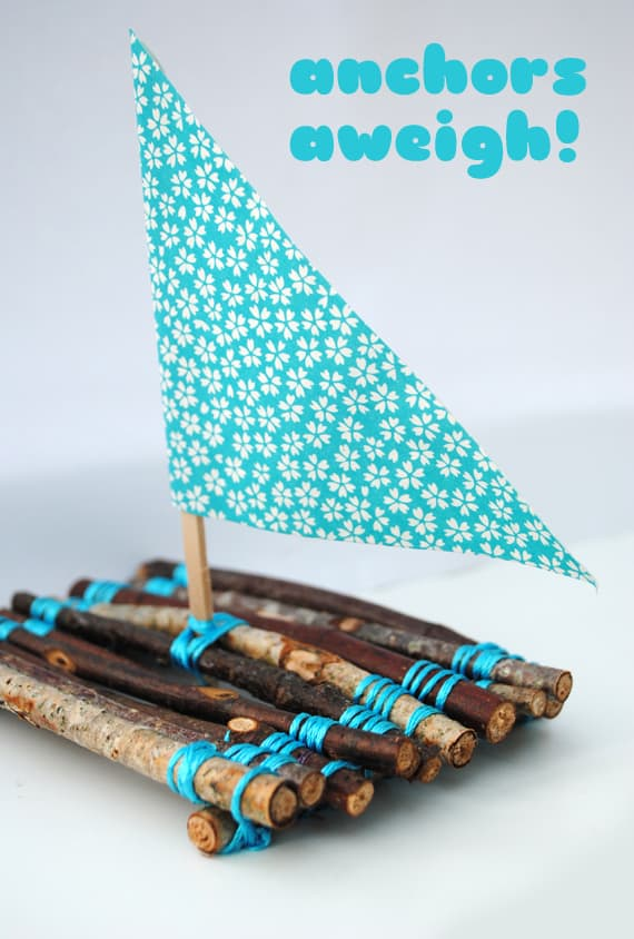 Cute homemade twig sail boats