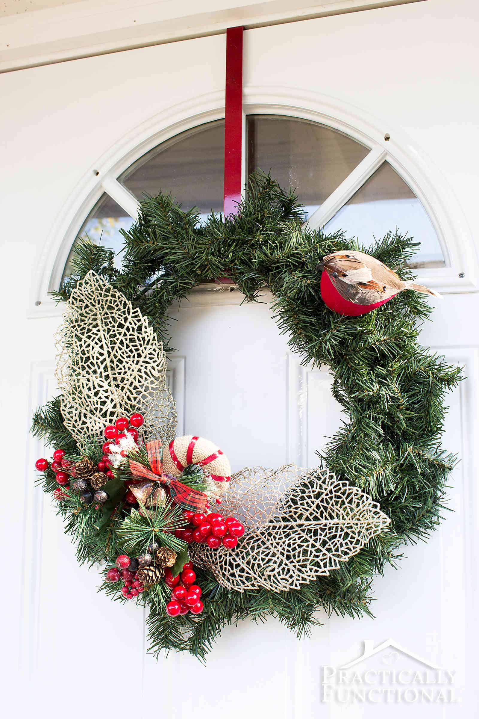 Diy winter greenery wreath practically functional 10