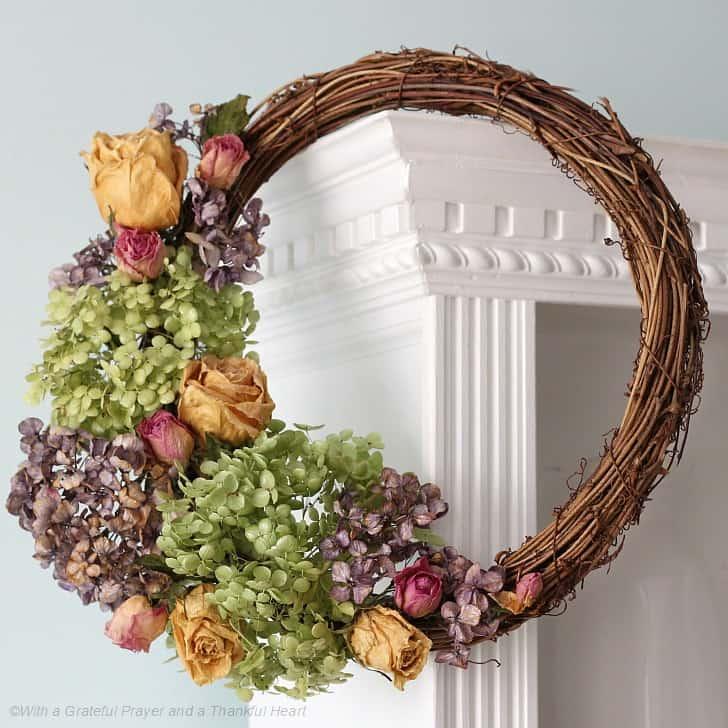 Diy dried flower door wreath