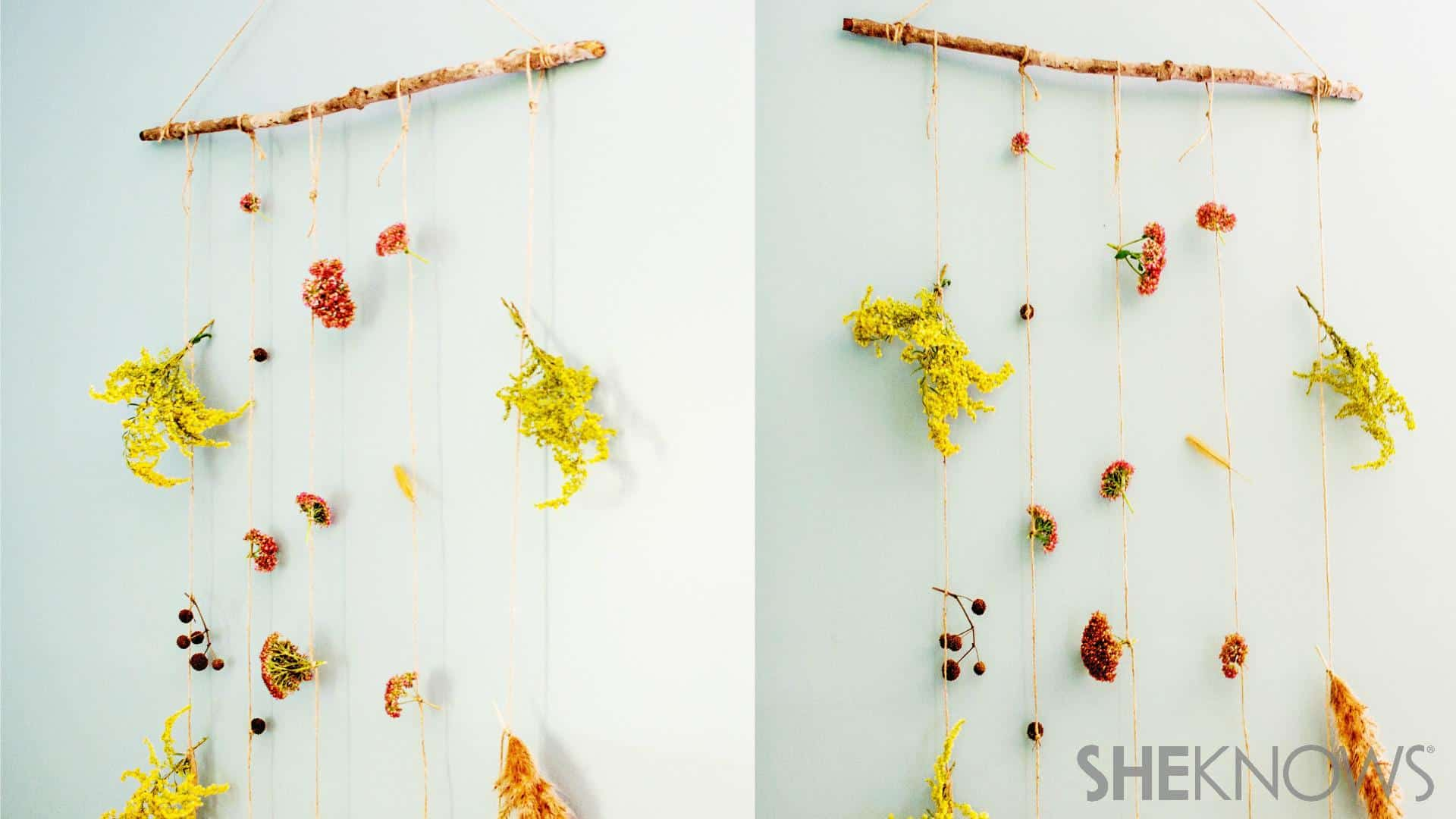 Dried flower and branch garland