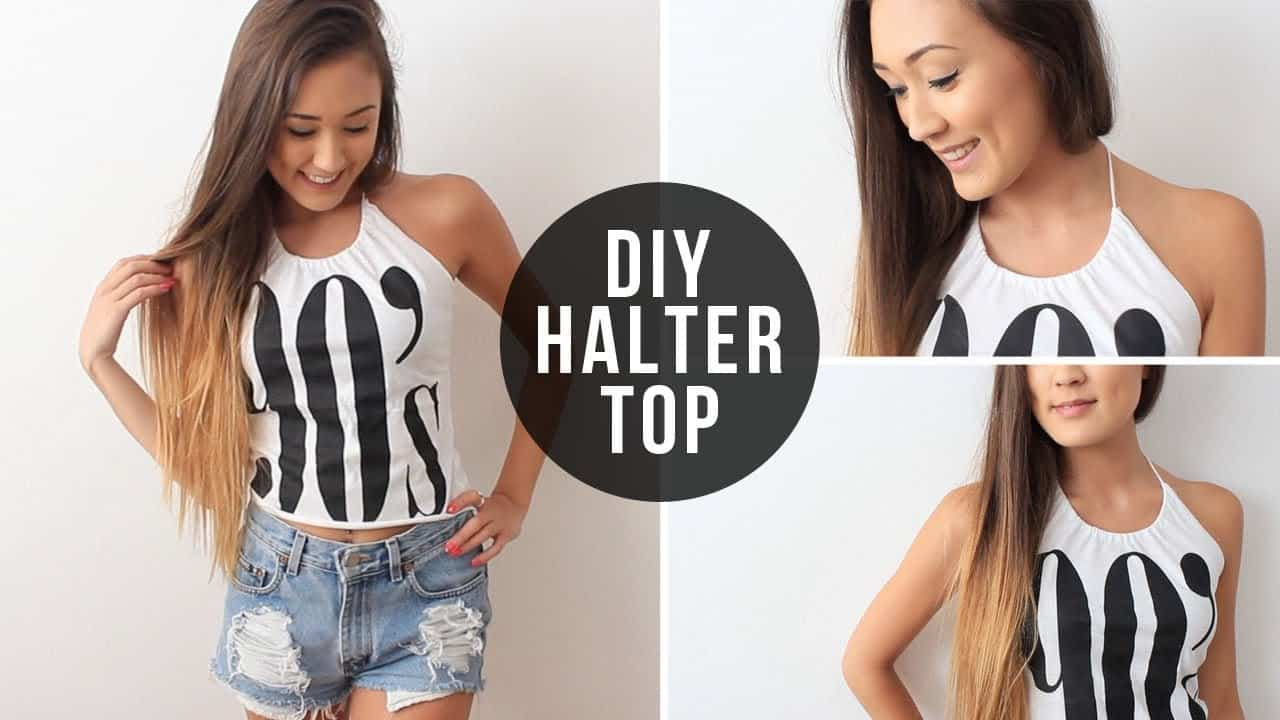 Easy diy halter top from a graphic tee