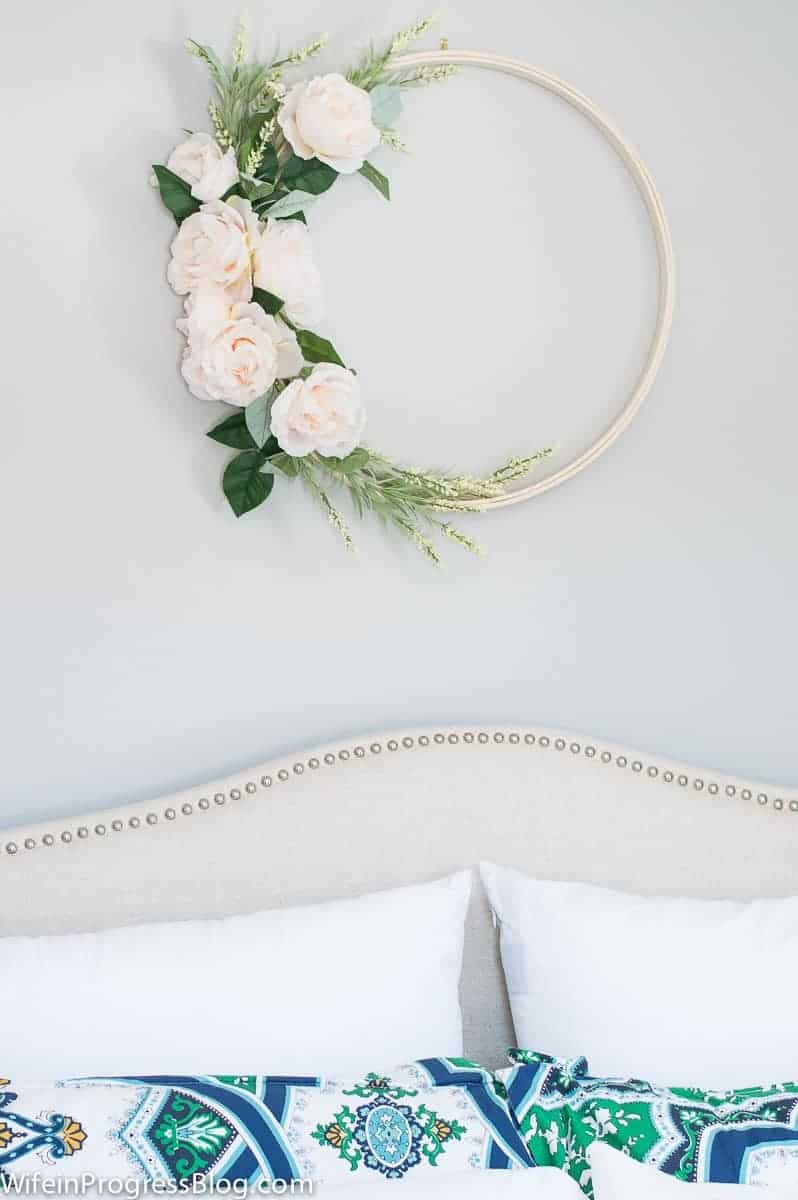Embroidery hoop and pale pink roses