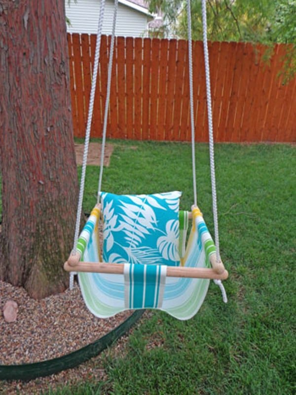 Fabric and dowel tree swing for toddlers