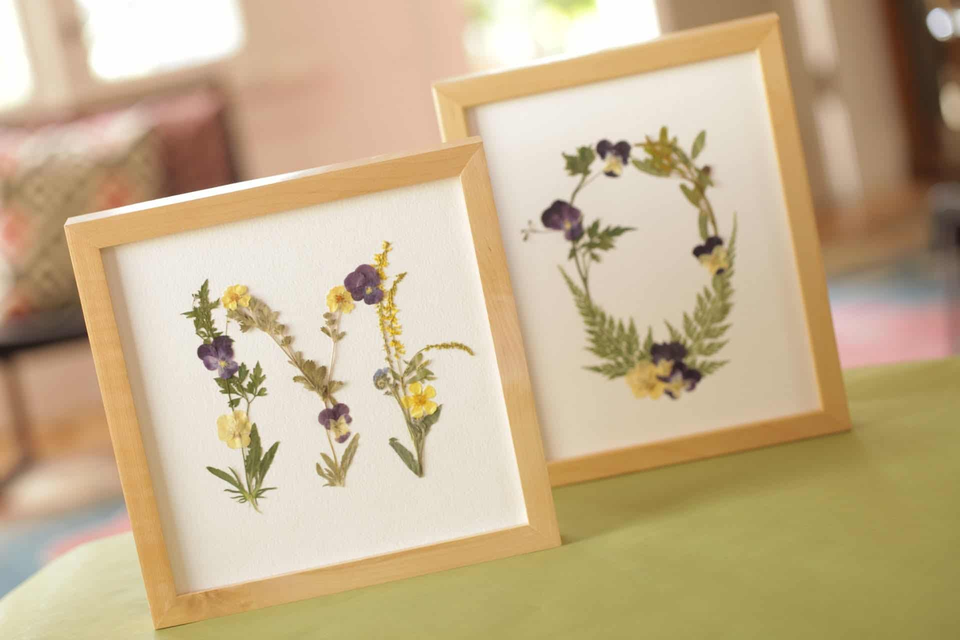 Framed pressed flower initials