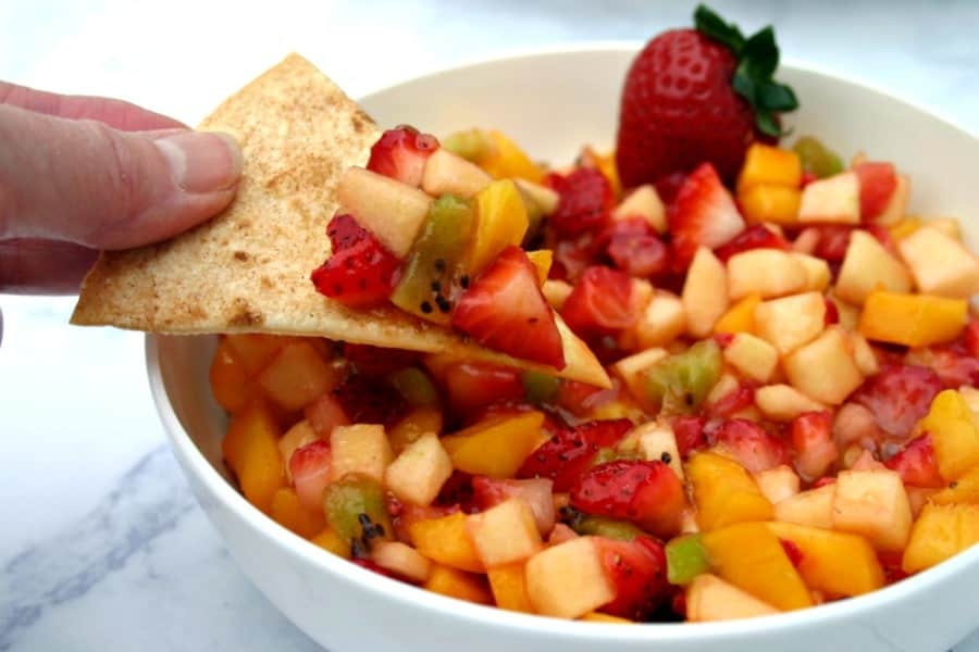 Fruit salsa with grilled cinnamon chips