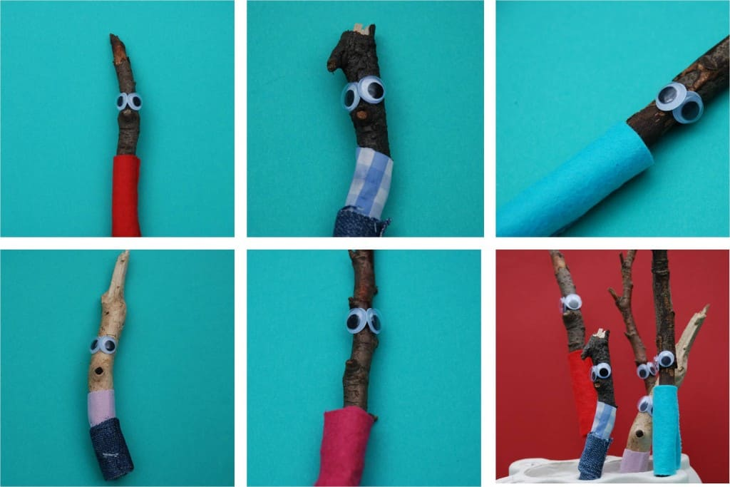 Funny stick puppets with googly eyes