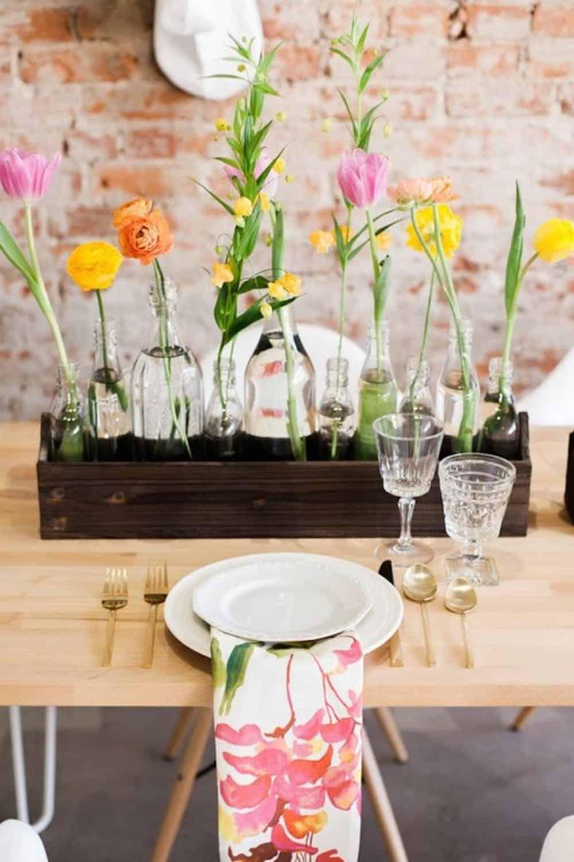 Glass bottles wood planter diy centerpiece