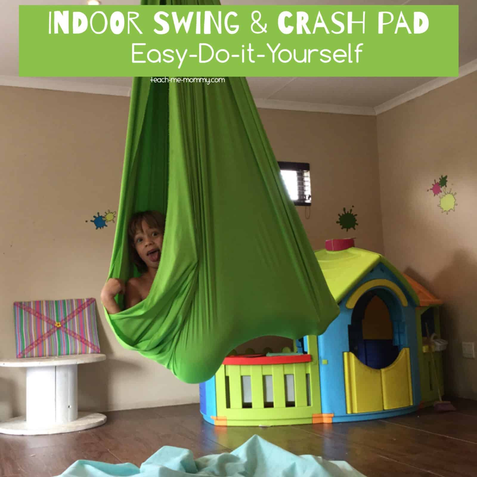 Indoor fabric swing and crash pad