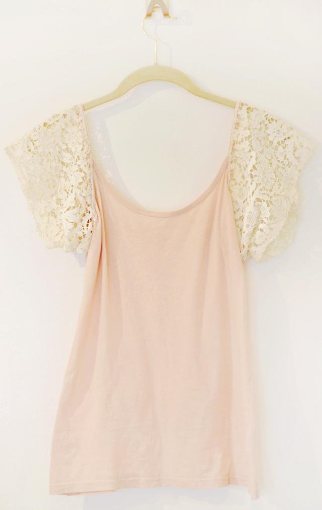 Lace cap sleeves on a tank top