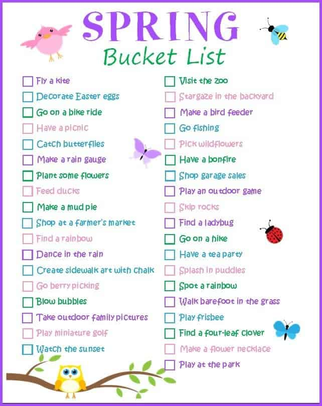 Make a spring bucket list