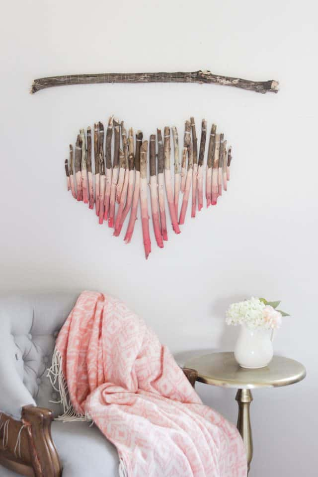 Ombre painted vertical stick heart mobile