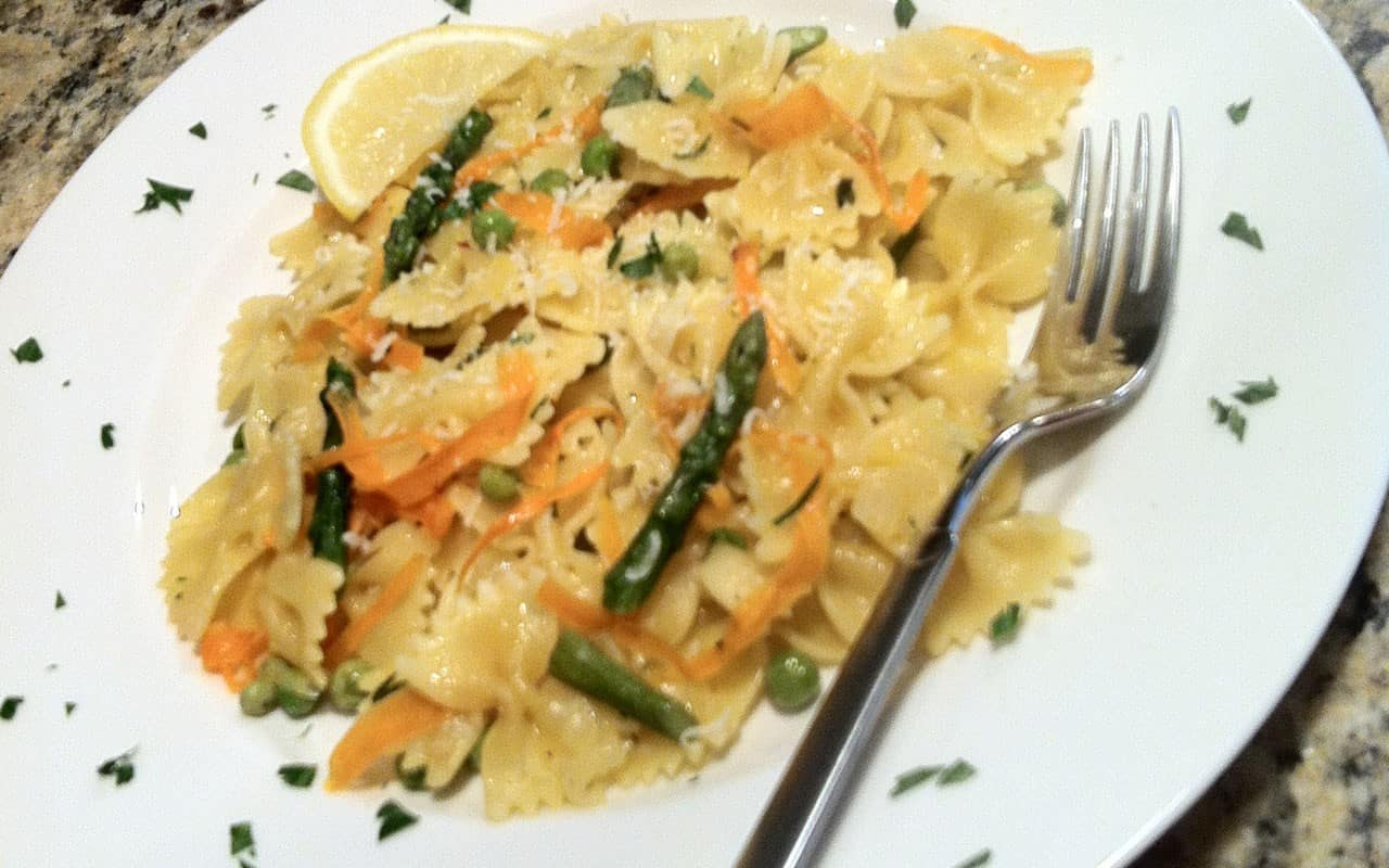 Pasta primavera with spring vegetables