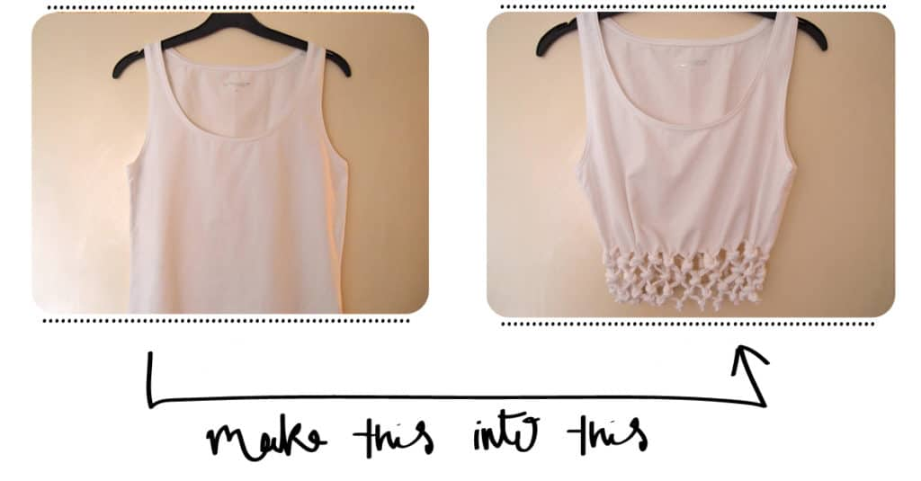 Plain tank top into knot woven crop