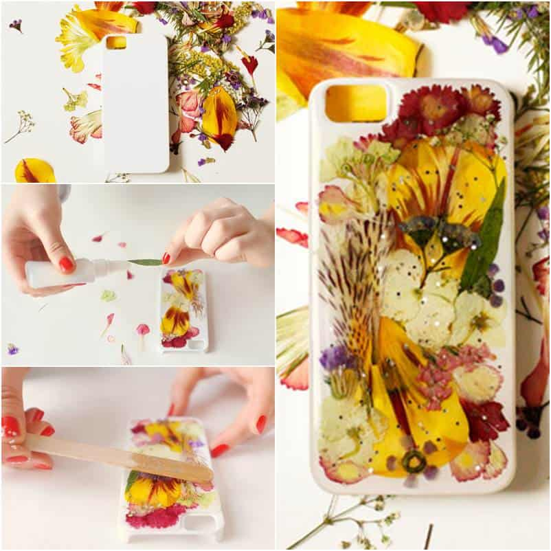Pressed and dried flower phone case