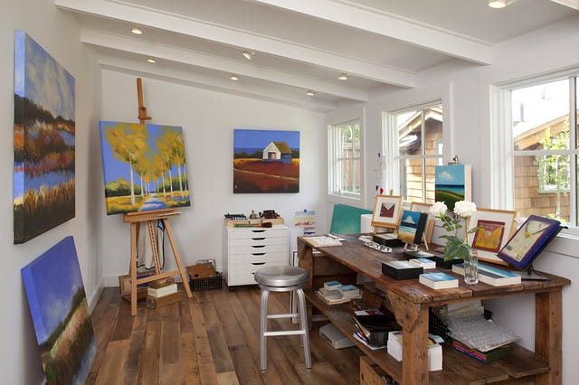 Room for easels and inspiration paintings