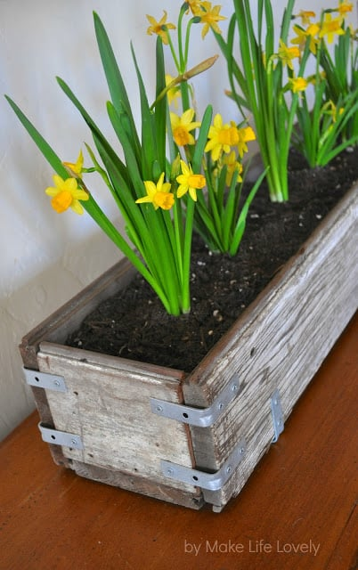 Rustic wood and metal bracket planter box