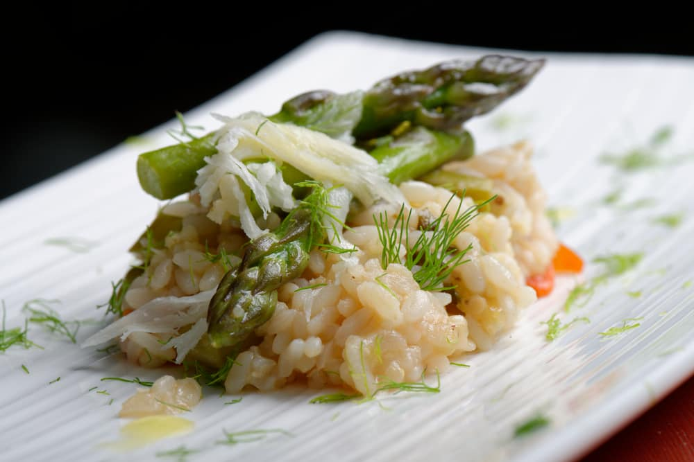 Saffron risotto with spring vegetables
