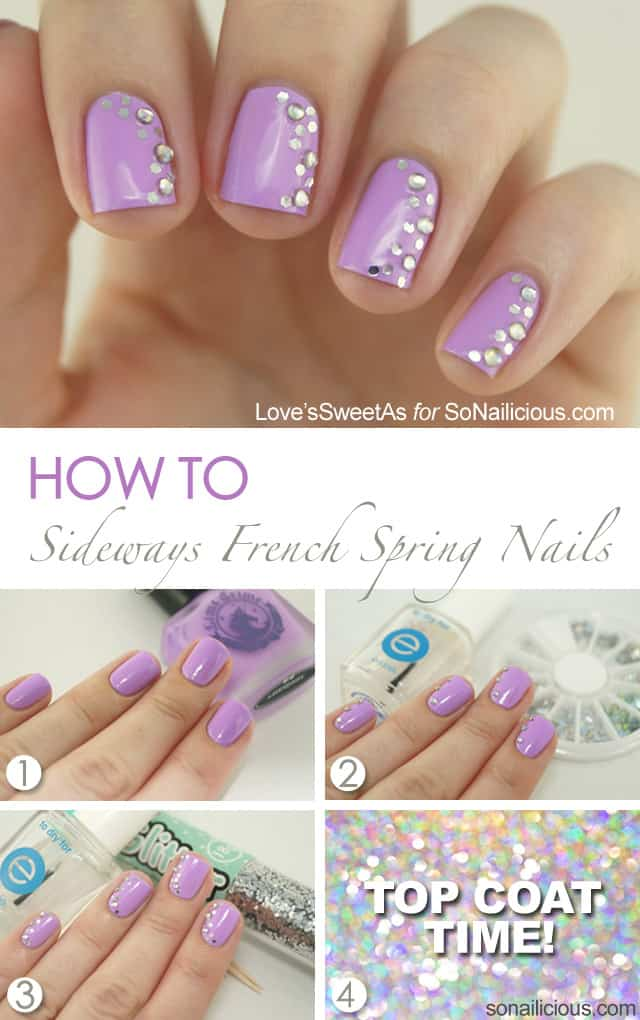 Sideways french spring manicure