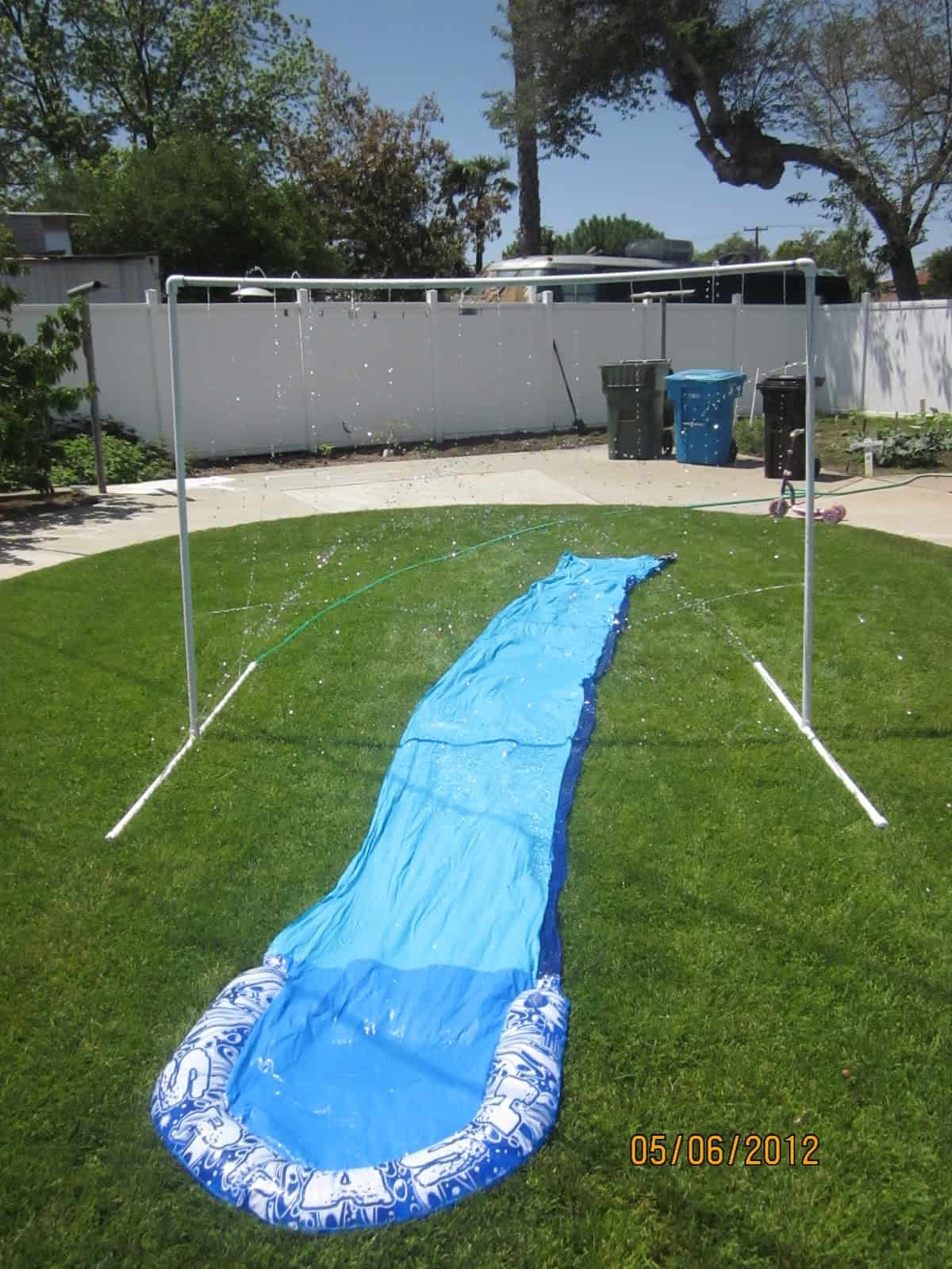 Sprinkler and slip n slide combo