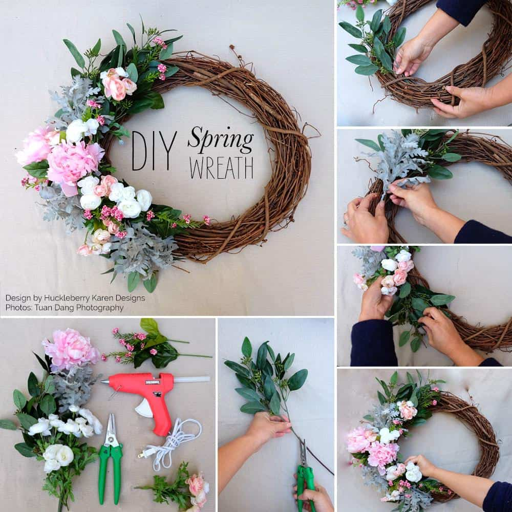 Twisted branch wreath with side flowers