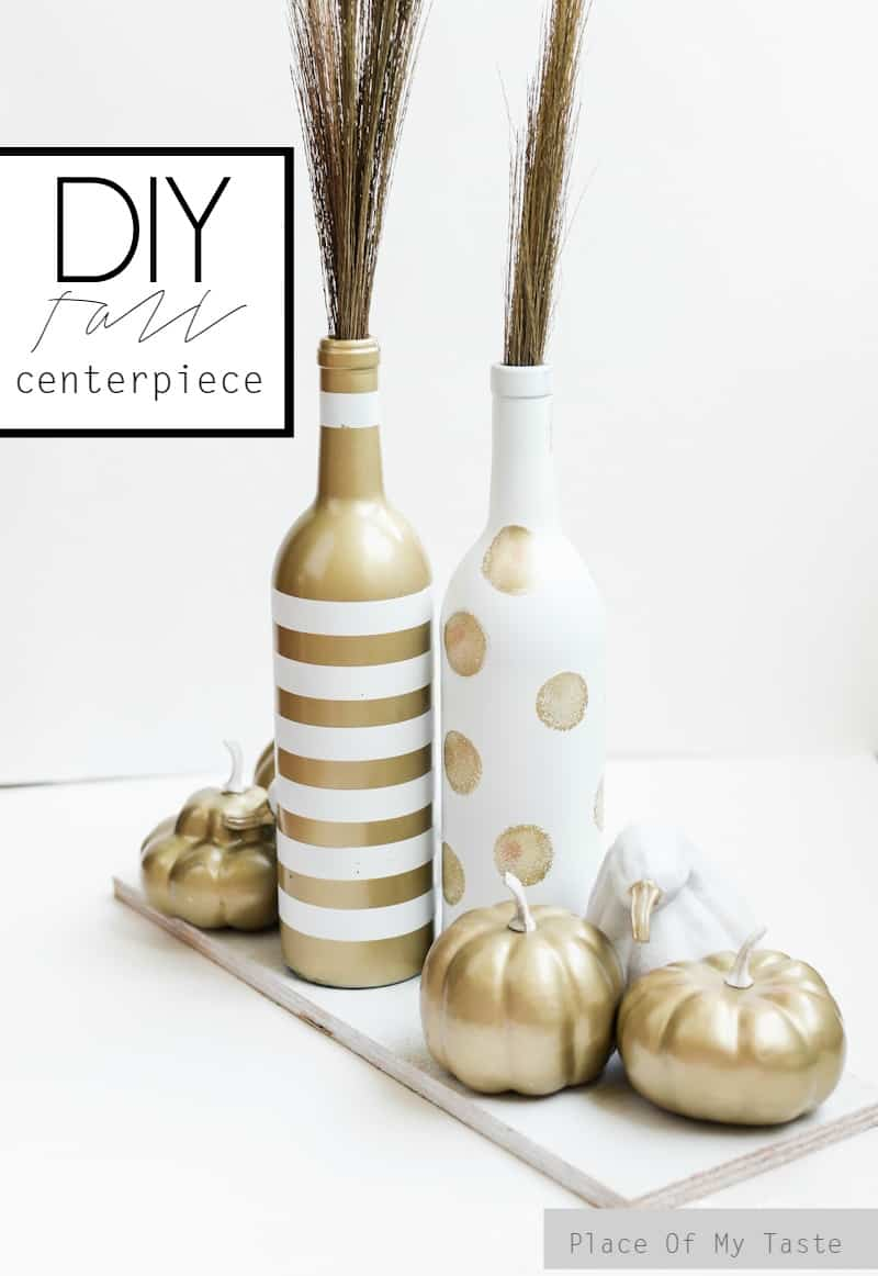 White and gold upcycled fall centerpiece place of my taste