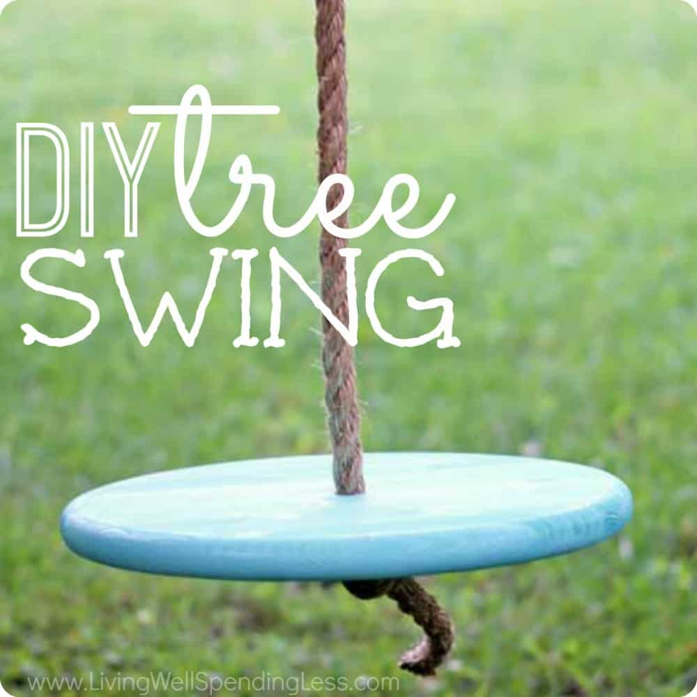Wooden circle and rope tree swing